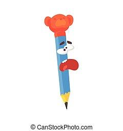 Un personaje cómico de dibujos animados de dibujos animados gritando, lápiz humanizado con vectores graciosos de ilustración
