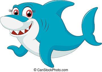 Un personaje cómico de tiburón