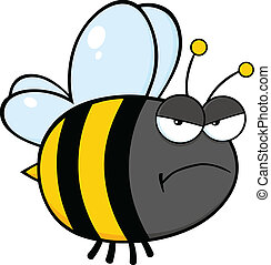 Un personaje de abeja enfadada
