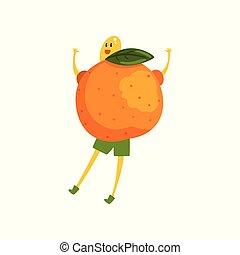 Un personaje de dibujos animados de mandarín valiente, un curioso vector de fruta humanizado de ilustración en un fondo blanco