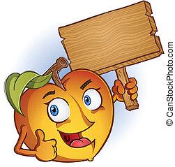 Un personaje de dibujos animados de melocotón con letrero
