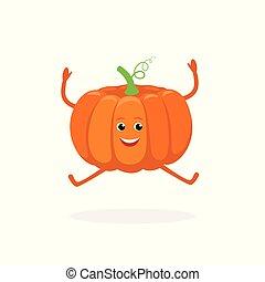 Un personaje de dibujos animados de Pumpkin aislado en fondo blanco. Alimentos saludables mascota curiosa ilustración vectorial vectorial en diseño plano.