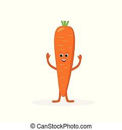 Un personaje de dibujos animados de zanahoria aislado en el fondo blanco. Alimentos saludables mascota curiosa ilustración vectorial vectorial en diseño plano.