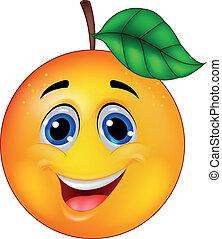 Un personaje de dibujos animados naranja