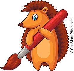 Un personaje de erizo de dibujos animados con un gran cepillo. Ilustración de vectores.