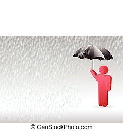 Un personaje de hombre parado bajo la lluvia con un paraguas en la mano