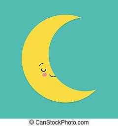 Un personaje de mascota de dibujos animados de luna sonriente. Ilustración de vectores