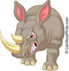 Un personaje de rinoceronte enojado