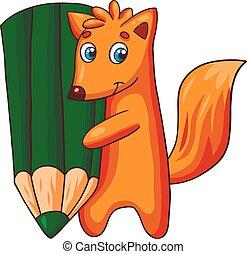 Un personaje de zorro de dibujos animados con un gran lápiz.