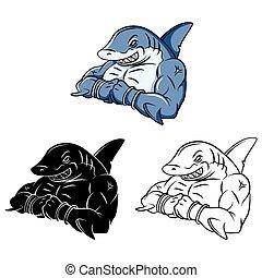 Un personaje fuerte de tiburón de color