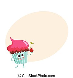 Un personaje gracioso con crema rosada