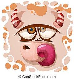 Un personaje gracioso, un monstruito. ilustración de Halloween.