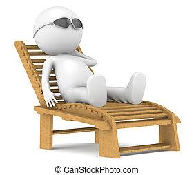 Un personaje humano 3D relajante.