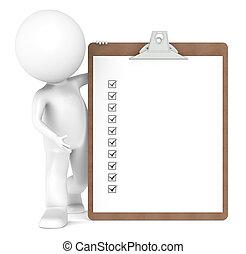 Un personaje humano 3D y una tabla con marcas de cheques