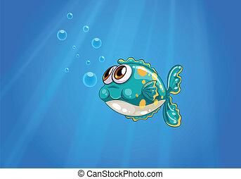 Un pez burbuja bajo el mar