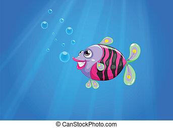 Un pez colorido sonriendo bajo el mar