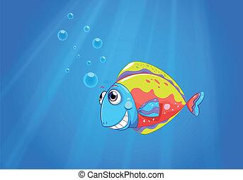 Un pez feo colorido bajo el mar