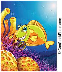 Un pez sonriente bajo el mar