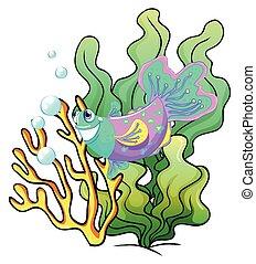 Un pez sonriente colorido bajo el mar