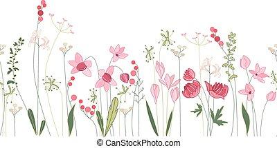 Un pincel sin costura con flores de verano estilizadas.