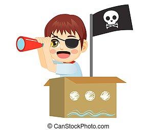 Un pirata marino jugando a las gafas