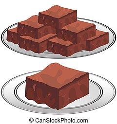 Un plato de brownies de chocolate