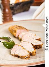 Un plato de cerdo