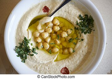Un plato de hummus