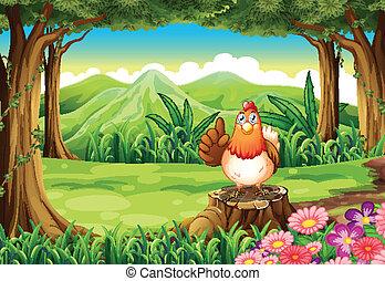 Un pollo en el bosque