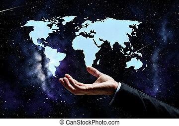 Un primer plano de hombre de negocios con mapa mundial