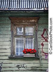 Un primer plano de la ventana decorada con flores rojas