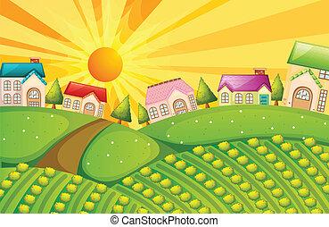 Un pueblo con granja