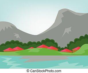 Un pueblo cruzando el río con bosques y montañas