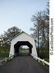 Un puente cubierto de madera blanco