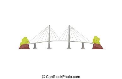 Un puente de cable grande y larga suspensión. Una estructura metálica para cruzar un río. Construcción para transporte. Icono vector plano