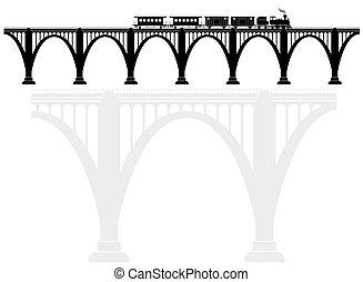 Un puente de hormigón con una locomotora de vapor. Infraestructura de transporte. Transporte de pasajeros.