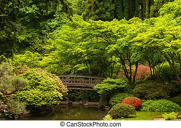 Un puente de madera en un jardín japonés