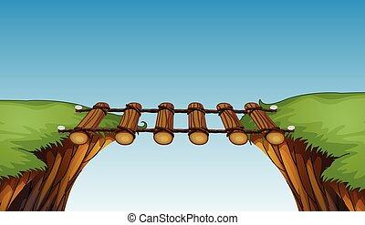 Un puente de madera entre acantilados