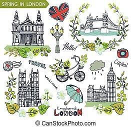 Un punto de referencia de Londres. El grupo de coronas de primavera