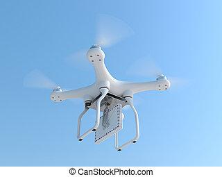 Un quadcopter con sobres de correo