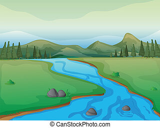 Un río, un bosque y montañas