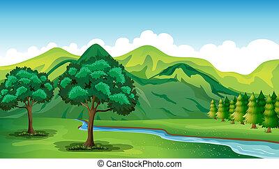 Un río y un hermoso paisaje