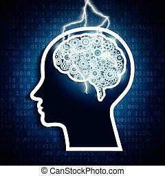 Un rayo cayó en los engranajes cerebrales humanos. El concepto de inteligencia.