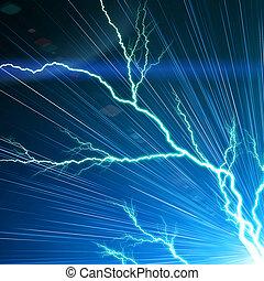 Un rayo eléctrico en un fondo azul