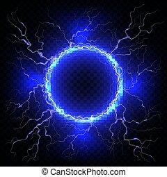 Un rayo eléctrico en un fondo transparente oscuro. Vector círculo relámpago