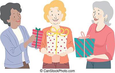 Un regalo de anciana dando ilustraciones