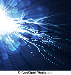Un relámpago eléctrico en un fondo azul