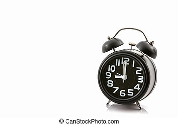 Un reloj de alarma de moda negro.