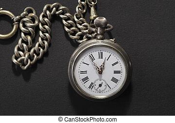 Un reloj de bolsillo con cadena