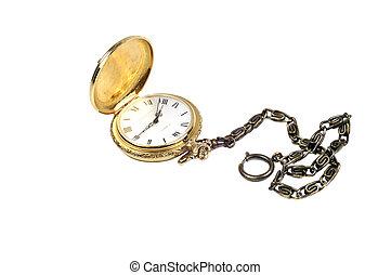 Un reloj de oro aislado en blanco